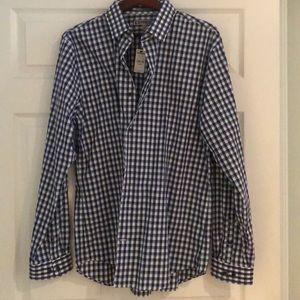 Blue plaid button down shirt